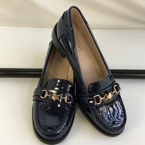 TOPSHOP SIZE 38 - SZ 7.5 NAVY FAUX PATENT LOAFERS